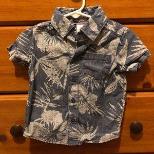 Tropical Print Short Sleeve Button-up Shirt